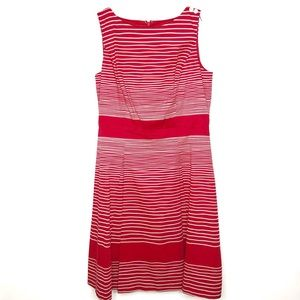 Talbots red & white striped fit n flare dress